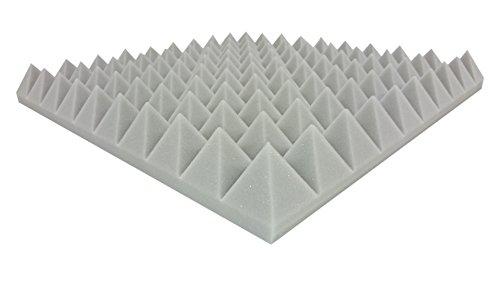Akustikpur - ca. 48,5 cm x 48,5 cm x 6 cm - Hell Grau - Akustikschaumstoff Pyramiden Akustik Schaumstoff Dämmung