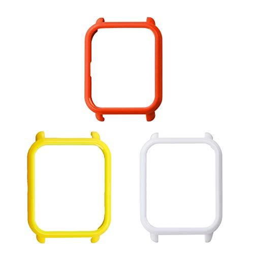 UKCOCO Custodia Amazfit Bip, Custodia Protettiva in plastica Rigida da 3 Pezzi Smart Cover Custodia Protettiva Anti Scratch per Xiaomi Huami Amazfit Bip (Amarillo/Blanco/Rojo)