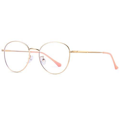 LEIAZ Anti-Blau-Brille, Computer-Brille Unisex Metall Retro Brillengestell Verhindern Sie Effektiv Uvstrahlen
