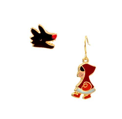 Esmalte de Caperucita Roja y lobo pendientes (en bolsa de organza)