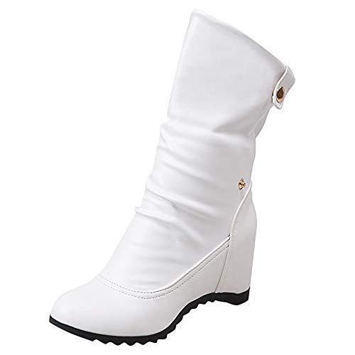 Damen Casual Wedges Stiefel, Selou Round Toe Warme Schuhe Knopf High Heel Schuhe Frauen Keilabsatz Active Barefoot Business Rockabilly Elegant Outdoor Pumps ImpräGnier Sneaker (Vince Camuto-riemchen-sandalen)