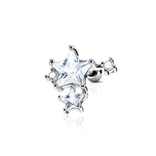 Kultpiercing - Helix Tragus Piercing Sterne mit Zirkoniakristallen - Ear Cartilage Piercing-Stecker Barbell Studs - Silber