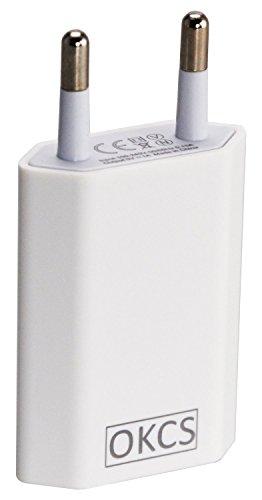 OKCS® 1A USB Netzteil Netzstecker Adapter für Smartphones / Tablets / eBook Reader / Apple iPhone / Samsung / Huawei / Sony / Nokia / HTC / LG - in Weiß