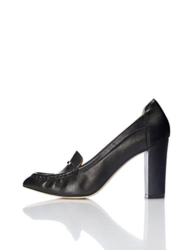 FIND Pumps Damen Aus Leder mit Loafer-Design, Schwarz (Black), 39 EU