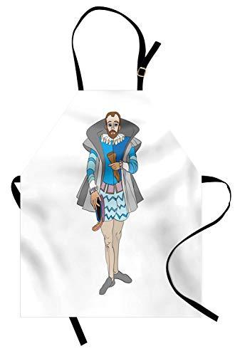 ABAKUHAUS Renaissance Kochschürze, Rokoko-Art-altmodischer Aristokrat-königlicher Mann-Kitsch-barocker Kostüm-Entwurf, Farbfest Höhenverstellbar Waschbar Klarer Digitaldruck, Mehrfarbig