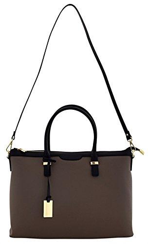 GAIA Sac porté Épaule Femme Shopper Porté Main Vrai Cuir Fabriqué en Italie Artisanale Brun-clair
