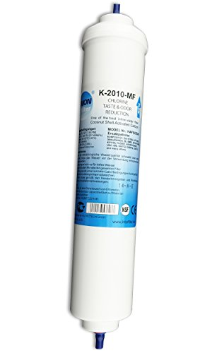 """UN-1. Wasserfilter für Side by Side Kühlschrank Samsung LG AEG Haier usw Externer Kühlschrankfilter mit integriertem 1/4"""" Schlauchanschluss Aktivkohle Filter"""