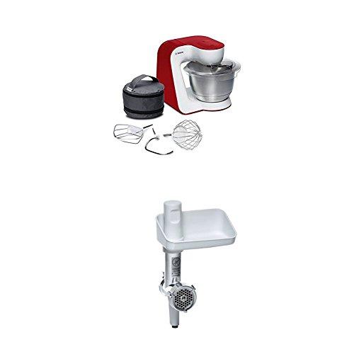 Bosch MUM54R00 Küchenmaschine StartLine Edelstahl-Rührschüssel, 3D Rührsystem, 7 Schaltstufen, 3,9 L, 900 W, weiß / tiefrot + MUZ5FW1 Fleischwolf weiß/aludruckguss