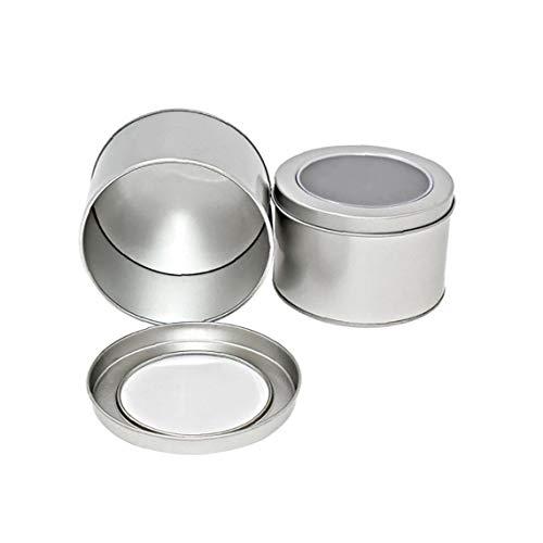 Kleine Schreibtisch Curling Eisen-Mittagessen-Kasten 1pc Silber Kleine Aluminium Rund Lip Balm Tin Storage Jar Behälter mit Schraubverschluss für Lippenbalsam kosmetische Kerzen oder Tee (Silber) -