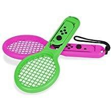 fdit Tennisschläger für Nintendo Schalter Joy-Con Mario Tennis Aces Spiel Mario Adventure Modus (2Packungen) Grün/Pink