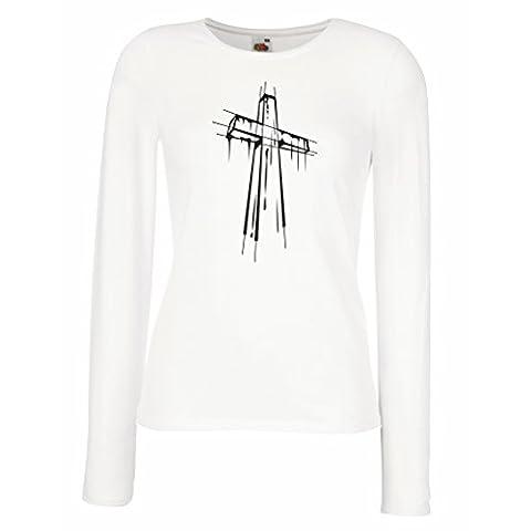 Weibliche langen Ärmeln T-Shirt Beunruhigtes Kreuz - Eeligiöse Geschenke, Christliches
