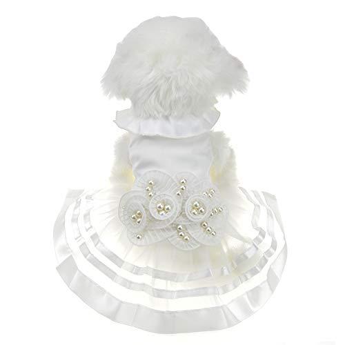 FLAdorepet Weiß Perle Blume Hund Puppy Luxus Schleife Kleid Pet Cat Tutu Rock Prinzessin Hochzeit Kleid Hund Chihuahua Kleidung Braut Kostüm, XS, Weiß