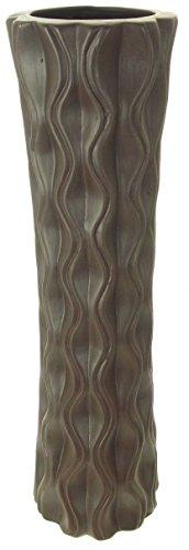 Hoch 60cm Boden Standing Flower Vase Keramik matt Schokolade Farbe geriffelt