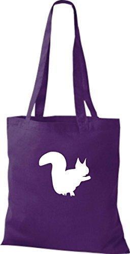 ShirtInStyle Stoffbeutel Eichhörnchen Baumwolltasche Beutel, diverse Farbe purple