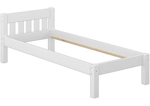 Erst-Holz® Massivholzbett Kiefer weiß 80x200 Jugendbett Einzel-Bettgestell ohne Rollrost 60.38-08 W oR