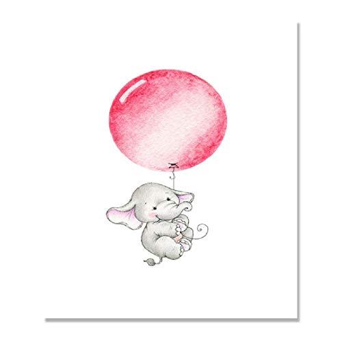 Niedlichen Elefanten Ballon Baby Room Decor Bilder Poster Kinderzimmer Wandkunst Leinwand Malerei Dekoration Druck Ungerahmt A