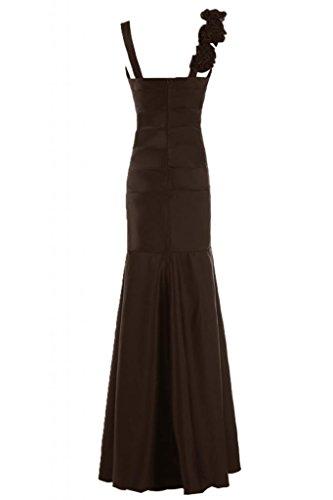 Sunvary formale in raso con scollo a V abito da sera, con scritta Mother of the Bride, Rufffles Chocolate