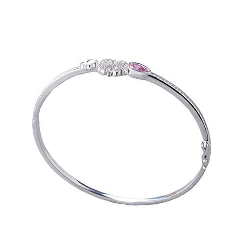 kristall Silber Armband, personalisierte Rose 925 schmuck angepasst Charme Edelstahl armreif hergeburtstag Hochzeit und jubiläumsgeschenk, Silver ()
