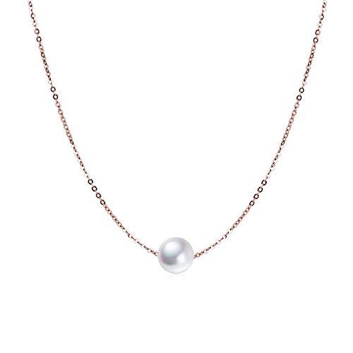 Sterling Silber Single Perle Choker Halskette für Frauen Mädchen 8mm Süßwasser Zuchtperle Perlen Halsband Ketten Hochzeit Brautjungfer Jahrestag Geschenk (roségoldbeschichtete Perlenkette)