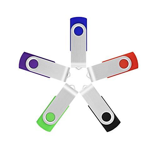 Unità disco flash memory stick girevole usb 2.0 da 16gb raoyi 5pcs (5 colori misti: nero blu verde viola rosso)