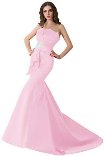 Sunvary 2015 Neu Mermaid Traegerlos Abendkleider Lang Satin Ballkleider Partykleider Rosa