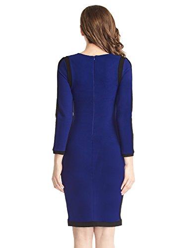 LookbookStore Robe femme midi formelle extensible unie moulante crayon fourreau Bleu