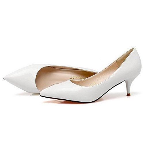 AalarDom Femme Pu Cuir Couleur Unie à Talon Correct Pointu Chaussures Légeres Blanc