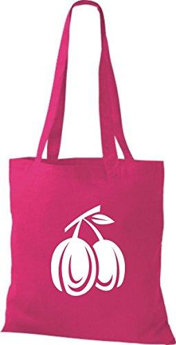 ShirtInStyle Stoffbeutel Baumwolltasche Dein Lieblings Obst und Gemüse Pflaumen Farbe Pink fuchsia
