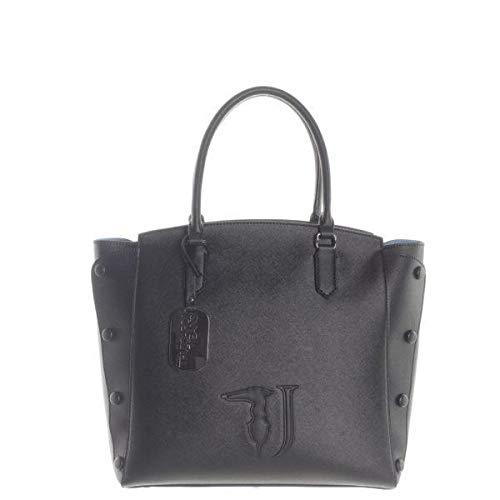 Trussardi jeans melissa shopping bag ecoleathe, borsa a mano donna, nero (black on tone), 32x32x15.5 cm (w x h x l)