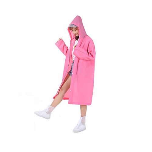 HUIJUNWENTI Regenmantel, batterie auto langen mantel, männer und frauen elektro fahrrad erwachsene studenten mode wandern poncho, rosa, grau, Regenmäntel, Regen zu verhindern, (Color : Pink) (Mantel Für Rosa Regen Erwachsene)
