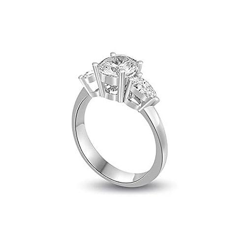 0.30ct G/VS1 Diamant Drei Steine Trilogy Ring für damen mit Runder Brillantschliff & Tropfenschliff diamanten in 18kt (750) Weißgold