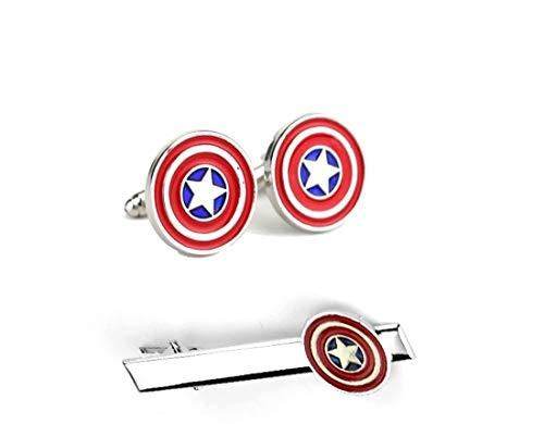 Set Krawatte Pin-Clip-Bar Manschettenknöpfe Captain America Captain America Kostüm Prop/Cosplay Krawatte Clip Manschettenknöpfe Set