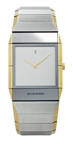 Jacob Jensen Sapphire Series Men's Quartz Watch with Silver Dial Analogue Display and Silver Stainless Steel Plated Strap 553