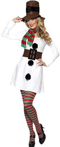 erdbeerloft - Damen Schneemann Kostüm- Kleid mit passenden Hut, Schal und Gürtel., L, Weiß