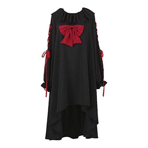 Partist Frauen Gothic Lolita Kleid Ebenen Abend Party Kleid,Onesize,Long Huelse Schwarz