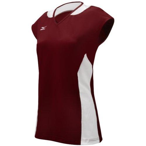 Mizuno Damen Klassische Mystic Cap Sleeve Jersey, Damen, Cardinal/White (Mizuno Trikot Volleyball)