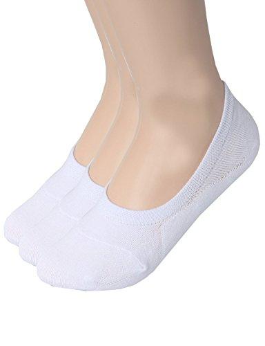 Zando Donna Casual antiscivolo piatta colore a taglio basso caviglia linea calze F 3 Pairs White 25 cm- 30 cm