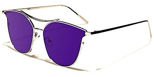 Giselle Sonnenbrillen Mode Modisch Fashion Strand Stadt CatEye Flat Lens/Sydney Violett Irisierend Spiegel
