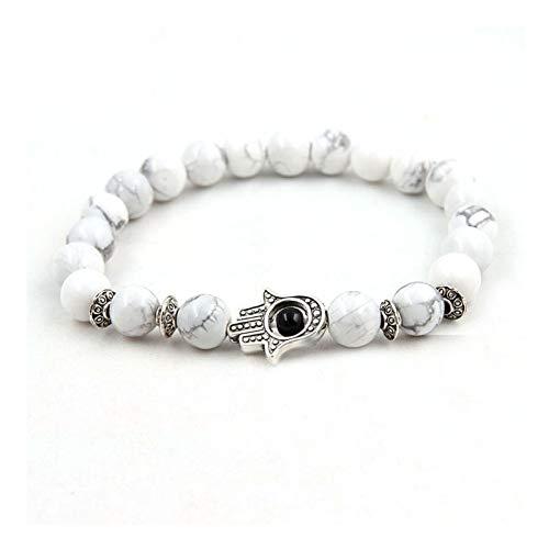 Imagen de pulseras pulsera best friend pareja de piedra natural pulsera de cuentas de hombres para mujer accesorios de mujer joyería palma blanca bohemia joyería