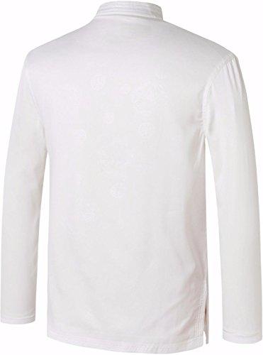 jeansian Uomo Giacca a Tasca Abiti Della Dinastia Tang Chinese Traditional Cardigan Tang Suit Tang Shirt L997 L998_White