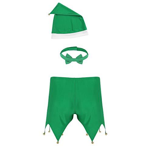 (dPois Herren Weihnachten Kostüm Outfit Boxer Short Briefs + Fliege + Hut Männer Unterwäsche Set Dessous Elfen Kostüm Cosplay Party Fasching Weihnachten Karneval Grün Large)