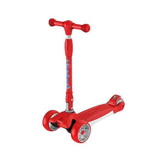 Monopattini monopattino yxx altezza regolabile bambino flash kick scooter 4 giri, design pieghevole, adatto per bambini da 2 a 16 anni (colore : red)