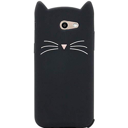 Samsung Galaxy J32017/J3Emerge J3/Prime/AMP Prime 2/Express Prime 2/J3Mission Fall, ifunny Cute 3D Cartoon Tiere Fortune Cat stoßfest und Weiche Schutzhülle aus Rubber Handy, Schwarz