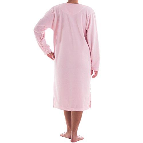 Lavazio chemise de nuit-romesa doublé avec broderie fine hochweritiger, doux et chaud Rose - Rose