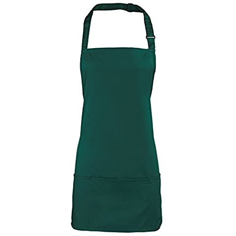 Adults/Unisex SHORT Polycotton 2 in 1 Waist Apron with Bib and Pockets - Cafe/Restaurant/Bar/Pub