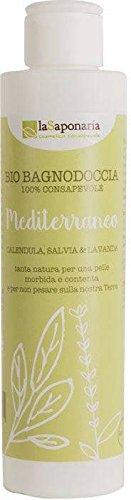 LA SAPONARIA - Gel Douche Bio Mediterran - Nettoie et fait rayonner la peau - Active les sens - Pour plus de douceur - Action nourrissante - Vegan - 200 ml