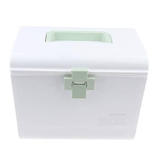 IPOTCH Tragbar Medizinkoffer Medizinbox Medikamente Aufbewahrung Erste Hilfe Koffer mit Tragegriff - Grün