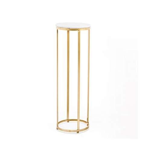 Blumenständer, Gold Runde Schmiedeeisen Marmor oder Massivholz Blumentopf Rack Indoor Wohnzimmer Balkon Boden Einfache Bonsai (Farbe : Marble Slab, Size : XL) -