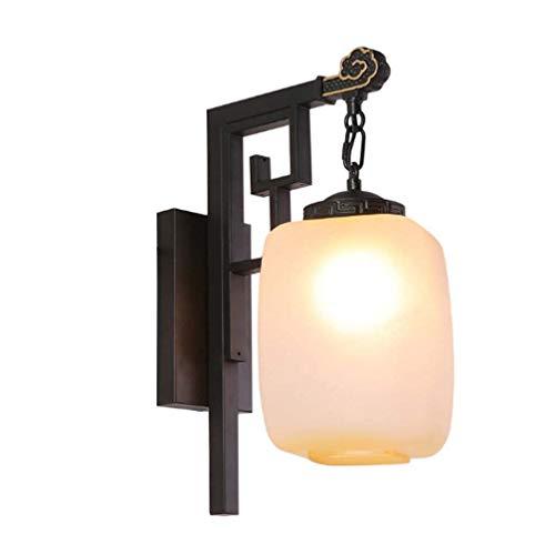 WYZQ Applique de Style Chinois, Lampe de Chevet en Fer avec Lampe de Table, Abat-Jour en Verre Fait à la Main, Miroir de Salle de Bains avec Couloir de Salle de Bains