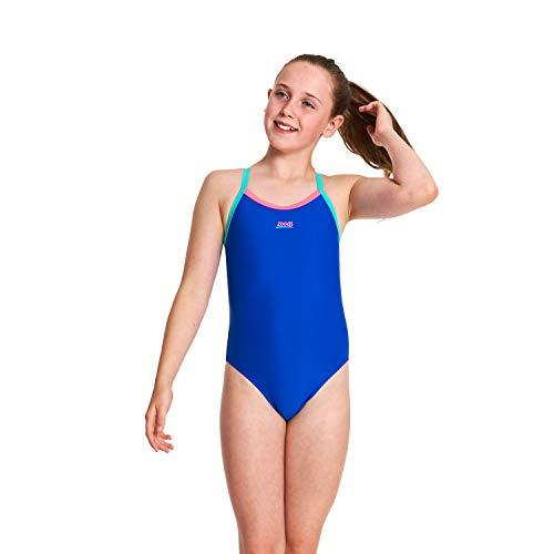 7c793dcd9e0 Zoggs Girls' Kerrawa Strikeback One Piece Swimsuit, Blue, Size 32 UK/152